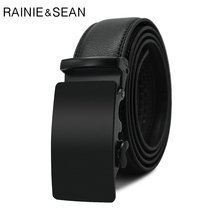 RAINIE SEAN Men Belt Cow Genuine Leather Male Automatic Buckle Black Mens Business Designer Brand Luxury Retro