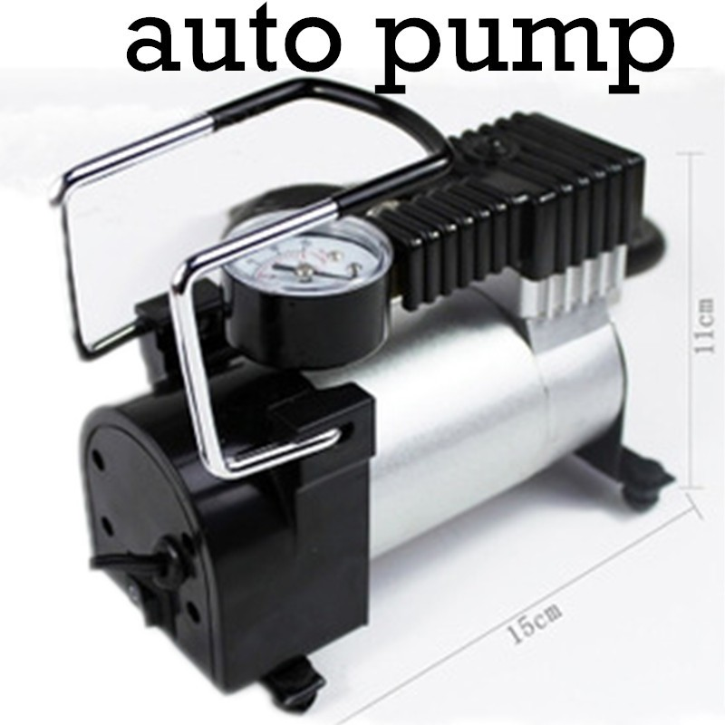 Portable Mini 12V Car Air Compressor Electric Tire Infaltor Pump Tire Inflator metal shell with 3 Pneumatic Nozzle high quality