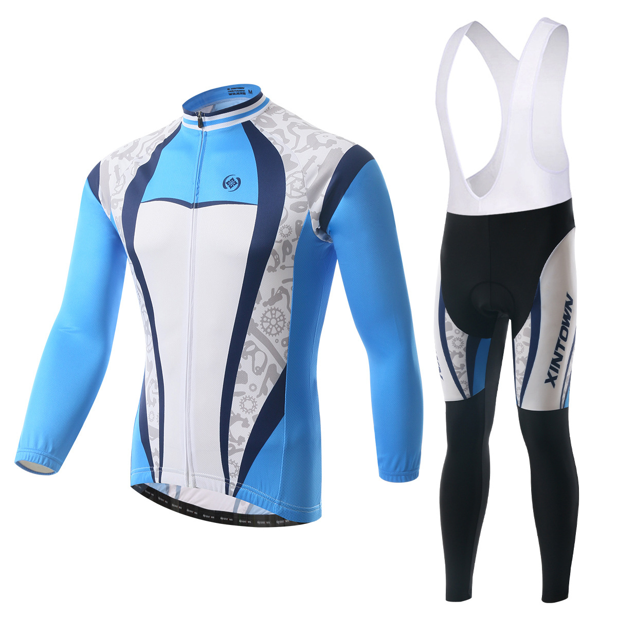 XINTOWN blueprint bike riding jersey gear strap long-sleeved suit wear bicycle suits fleece wind warm features underwear