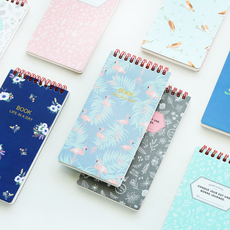 Mini fresh coil notebook Vintage flower and animal s
