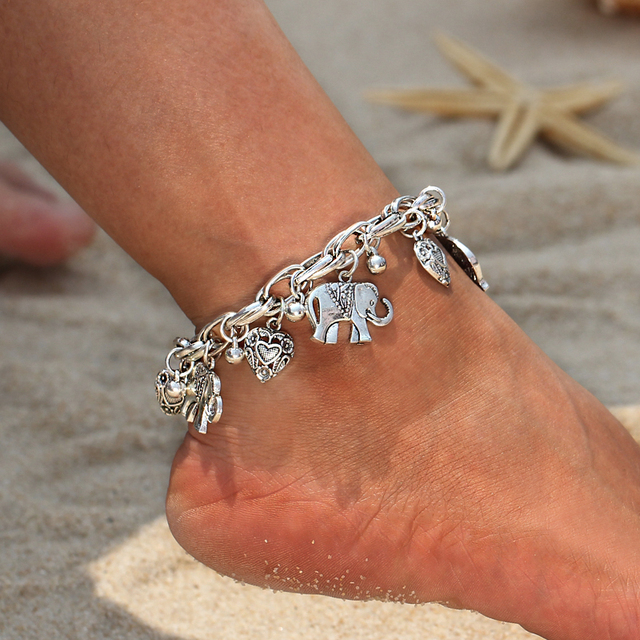 Vintage Gold Silver Color Anklets for Women Elephant Pendant Charms Box Chain Beach Summer Foot Ankle Bracelet Wholesale Jewelry 2