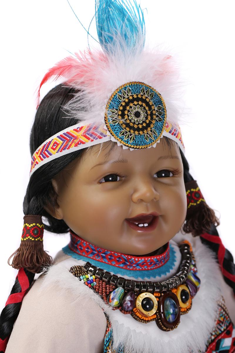 Silicone Reborn Baby Doll Toys Native American Indians Black skin Newbabies Reborn Child Girls Brithday Present
