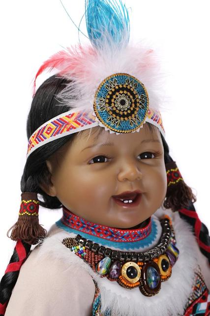 Silicone Reborn Baby Doll Toys Native American Indians Black skin Newbabies Reborn  Child Girls Brithday Present 456ca2f04212