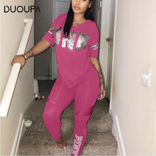 2019 Pink Letter Print Tracksuits Women Two Piece Set Spring Plus Size T-Shirt Top And Pants Suits Casual Bodcon 2