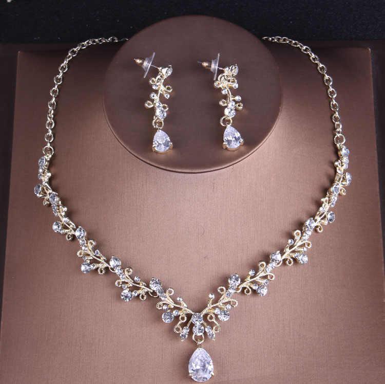 Barokke Noble Crystal Bridal Sieraden Sets Vintage Goud Mode Bruiloft Sieraden Tiara Ketting Oorbellen Voor Bruid Haar Sieraden