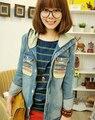 Hooded Denim Jacket 2015 Spring New National Embroidery Pocket Vintage Female Jean Jacket Women Coat Spring