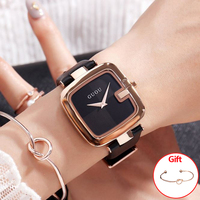 GUOU Women's Watches 2018 Fashion Ladies Watches For Women Bracelet Watch Women Luxury Montre Femme Square Clock Saat