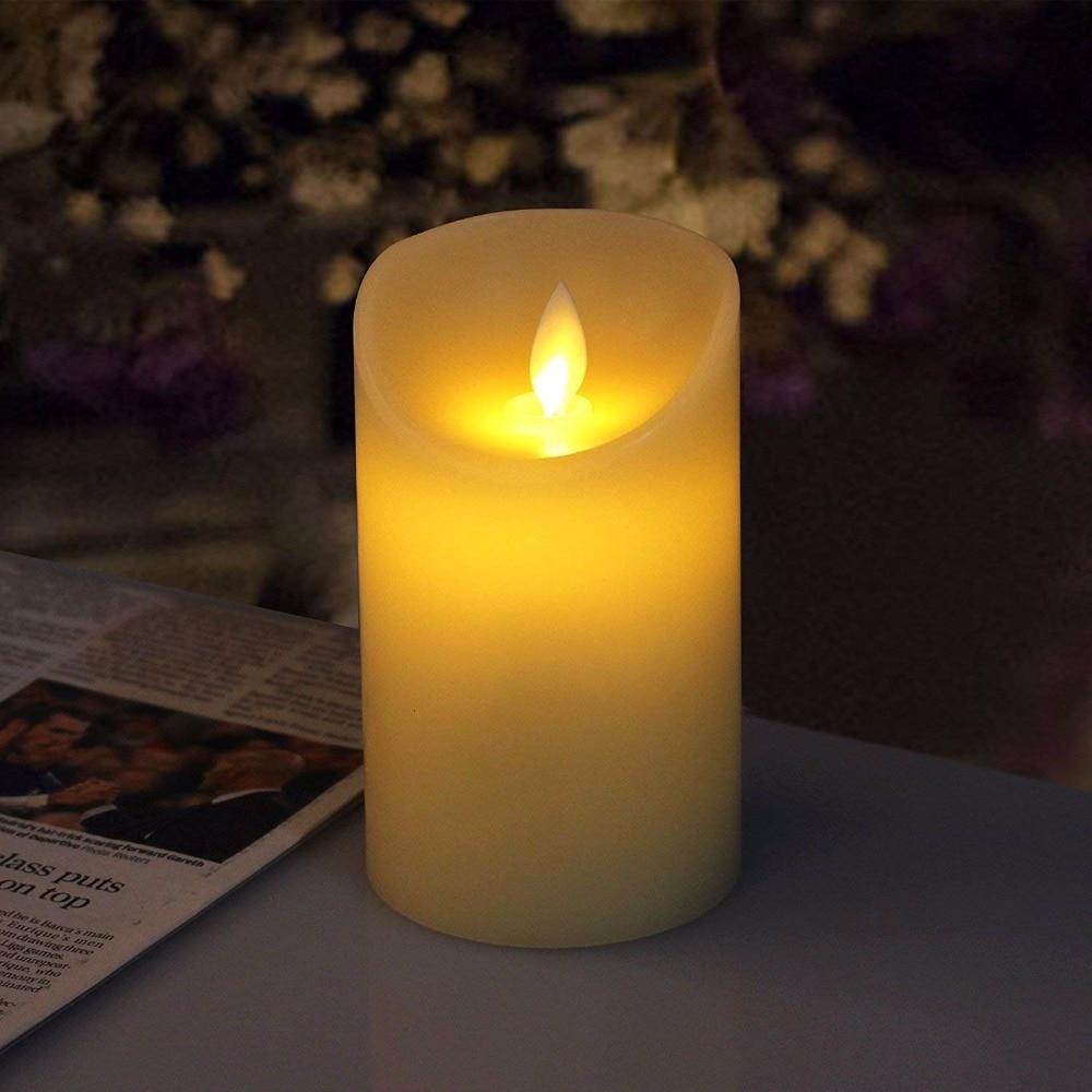 Dancing flame LED night light Candles Wax Pillar Candle ...