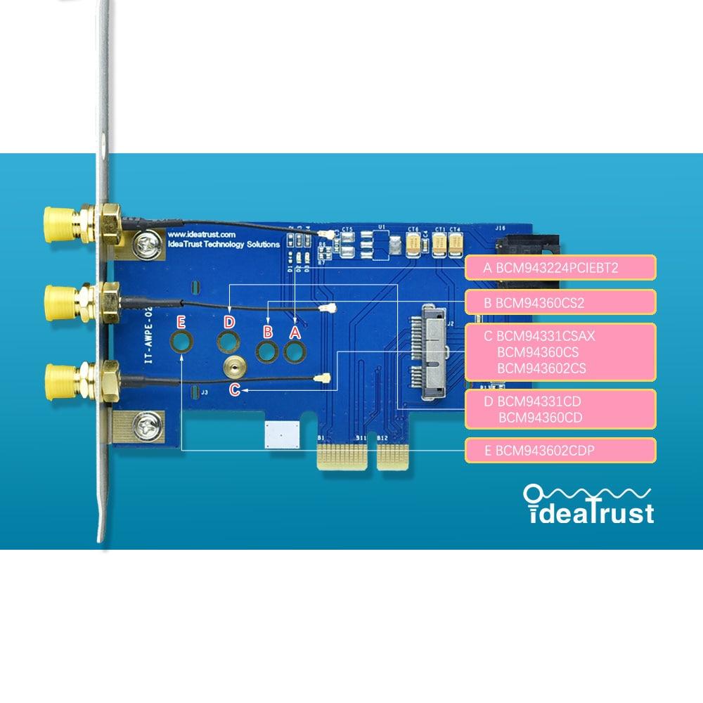 BCM943602CS BCM94360CSAX BCM94360CD BCM94360CS2 BCD94331CSAX To PCIe 1x PCI-E X1 Adapter For Apple Wifi Card Desktop Hackintosh