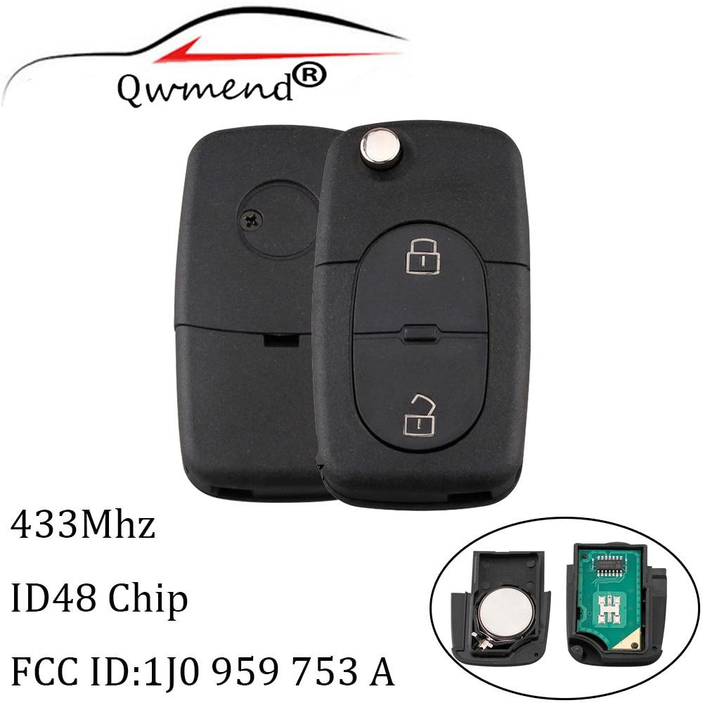 2 кнопки дистанционного ключа, брелок без ключа для VW 1J0959753A 433 мгц для Volkswagen Golf MK4 Passat 1998 2000 2001 оригинальный ключ