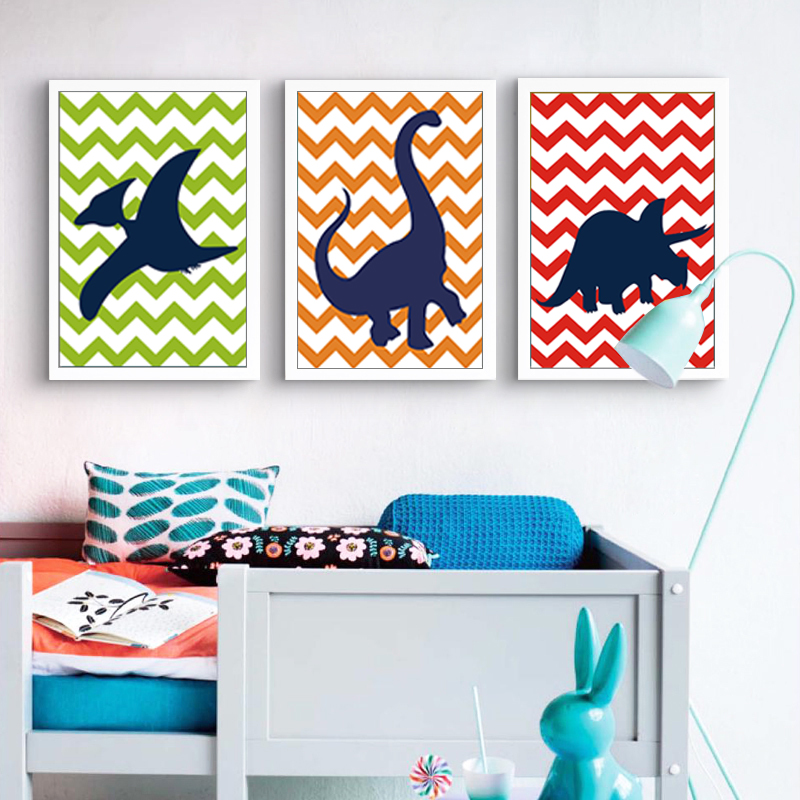 Us 3 49 50 Off Cartoon Dinosaur Silhouette Chevron Dino Theme Canvas Paintings Nursery Wall Art Picture Party For Kids Boy Bedroom Home Decor In