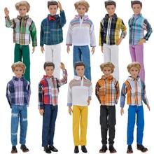 E-TING Повседневная Одежда Рубашка Блузка Брюки Одежда Набор Для Barbie Кен Куклы