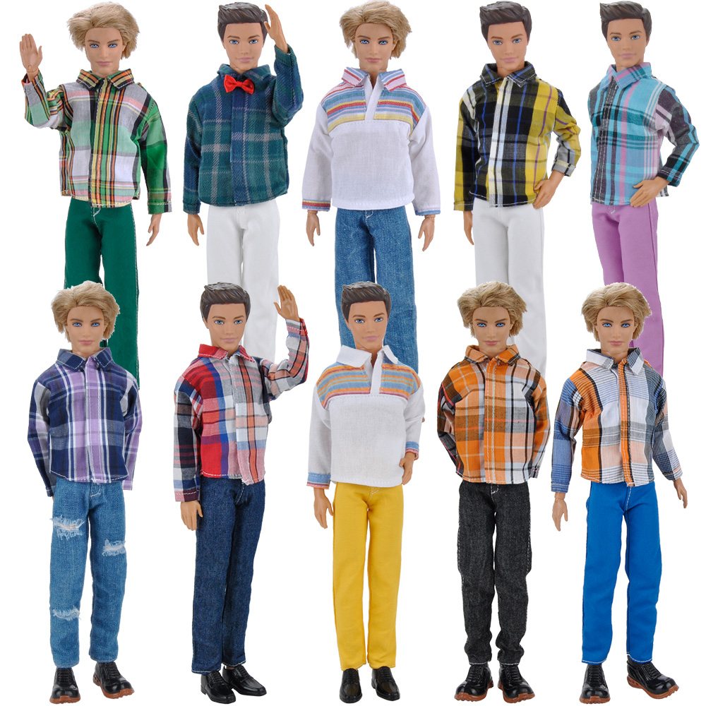 E-TING Doll Clothes Casual Wear Long Sleeves Plaid T-Shirt Pants Trousers Outfits Set For Barbie Ken Doll Accessories Toys Gift 30 new styles festival gifts top trousers lifestyle suit casual clothes trousers for barbie doll 1 6 bbi00636
