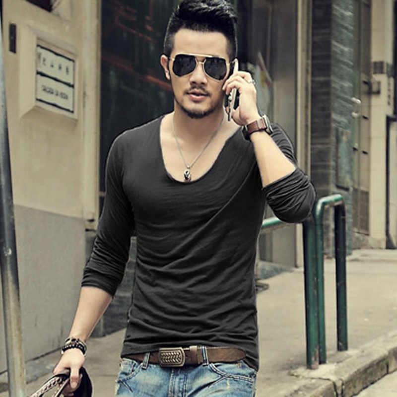 男性長袖無地カジュアル綿 Tシャツ男性 V ネックの高品質 Tシャツ男性ホット販売スリムフィット tシャツ