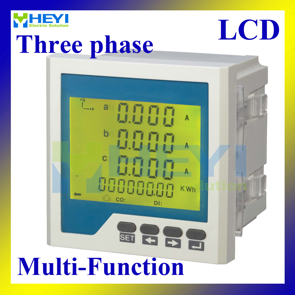 LCD Three phase multifunction meter 96*96 Mulit meter for amp voltage frequency power energy measurement digital panel meter lcd hy 3re series three phase digital reactive energy meter electricity meter energy meters electric energy meter