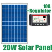 20W Solar Panels + 10A 12V 24V Solar Controller, 18V Solar cell panels charger 12V battery WY