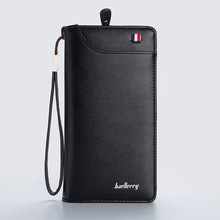 High Quality Card Holder Wallets Business Pu Leather Long Design Fashion Casual Men Purse Zipper Multi-function