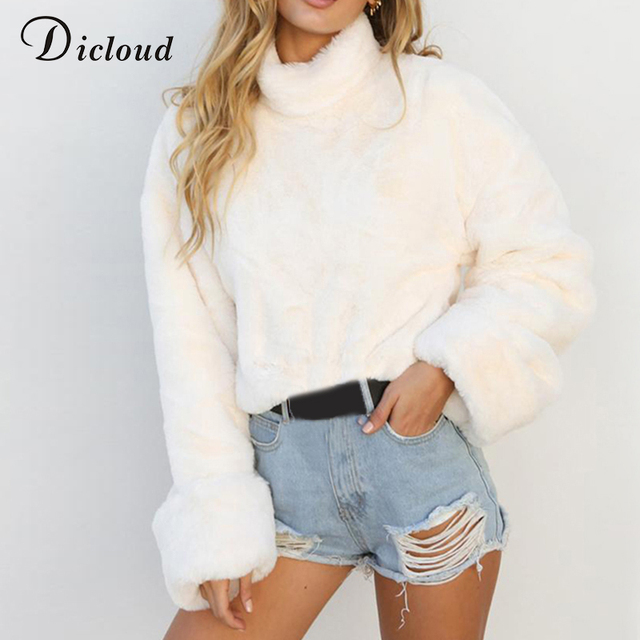 1a6064220ac Dicloud white turtleneck sweater women winter oversized jumper casual  fashion 2018 thick crop top warm pullover sweater female