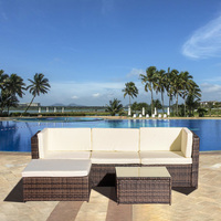 PE Rattan Sofa Set Couch Steel Frame Living Room Balcony Outdoor Garden Cushion U Shaped Rattan Sofa Glass Table Home Furniture