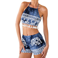 Mulheres macacão sem mangas verão sexy impressão elefante cobre calções twinset duas peças outfits rompers playsuit Macacão feminino