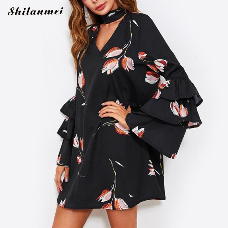 Flower Print Women Summer Dress Long Flare Sleeve V Neck Deep V Ruffles Beach Dress Causal Black Floral Chorker Sexy Mini Dress