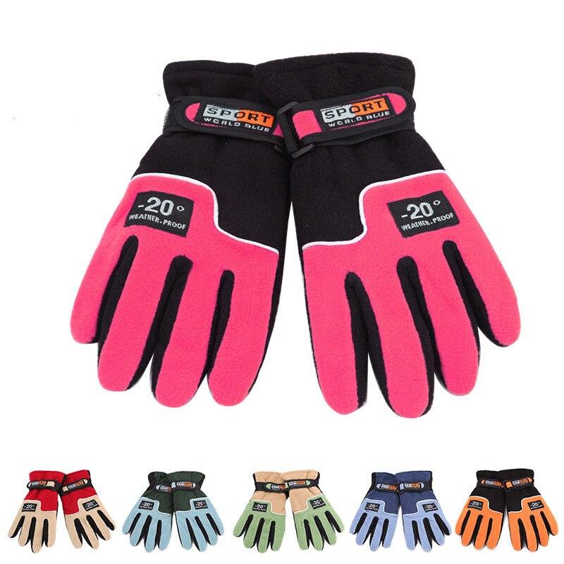 Adjustable Windproof Women font b Skiing b font font b Gloves b font Fleece Outdoor Thermal