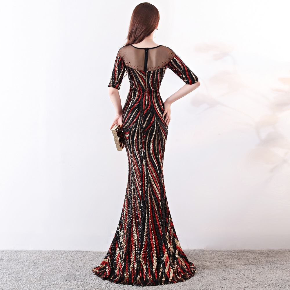 Elegant Crystal Beaded See Through Voile Shor Sleeve Mermaid Long Formal Dresses For Women 2018 Sexy Nightclub Wear Party Dress (7)