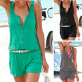 2016 Cotton Rompers Womens Jumpsuit Fashion Sleeveless Solid Shorts Playsuit Slim O-neck Regular Casual Beach Bodysuit Women D1