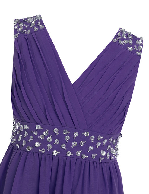 Purple Chiffon Childrens Party Dresses