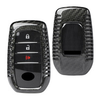 Carbon Fiber Car Auto Remote Key Fob Case Cover For Toyota Alphard RAV4 Hilux