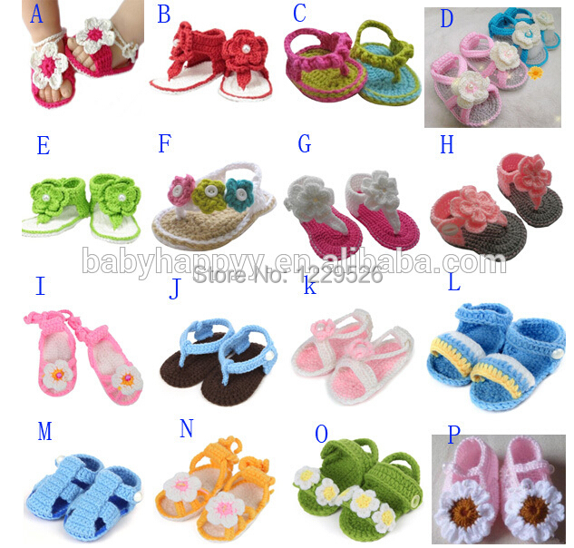 New style Models Baby Girls Cute LNice soft baby crochet shoes sandals