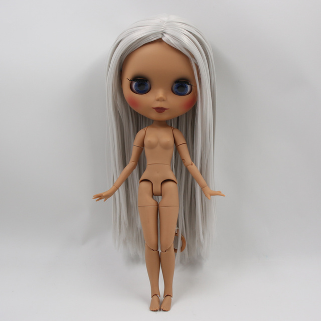ICY factory blyth doll dark skin joint body new matte face gray straight hair DIY sd gift toy