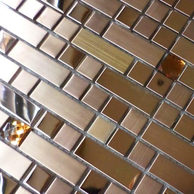 Hedendaags Rose gouden kleur rvs gemengde diamant strip metalen tegels voor PJ-19
