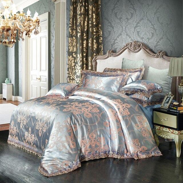 Blue Grey Jacquard Tribute Silk Bedding Set Modal Duvet Cover Cotton Sheet Pillowcase Lace Bed Linens