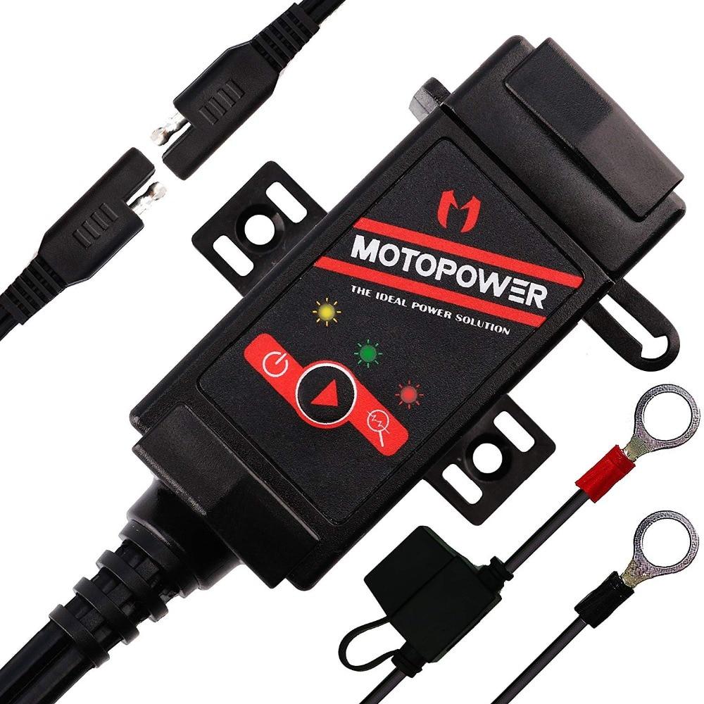 MOTOPOWER MP0608 SAE 3.1Amp Motocicleta Carregador Dual USB para USB Adaptador de Monitor de Bateria com Interruptor