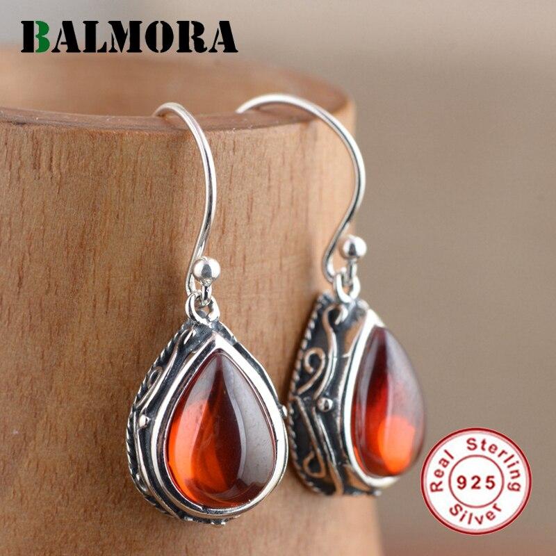BALMORA 2 Colors Green Zircon Water Drop Earrings 925 Sterling Silver Retro Earrings for Women Lover Party Gifts Jewelry MN30439