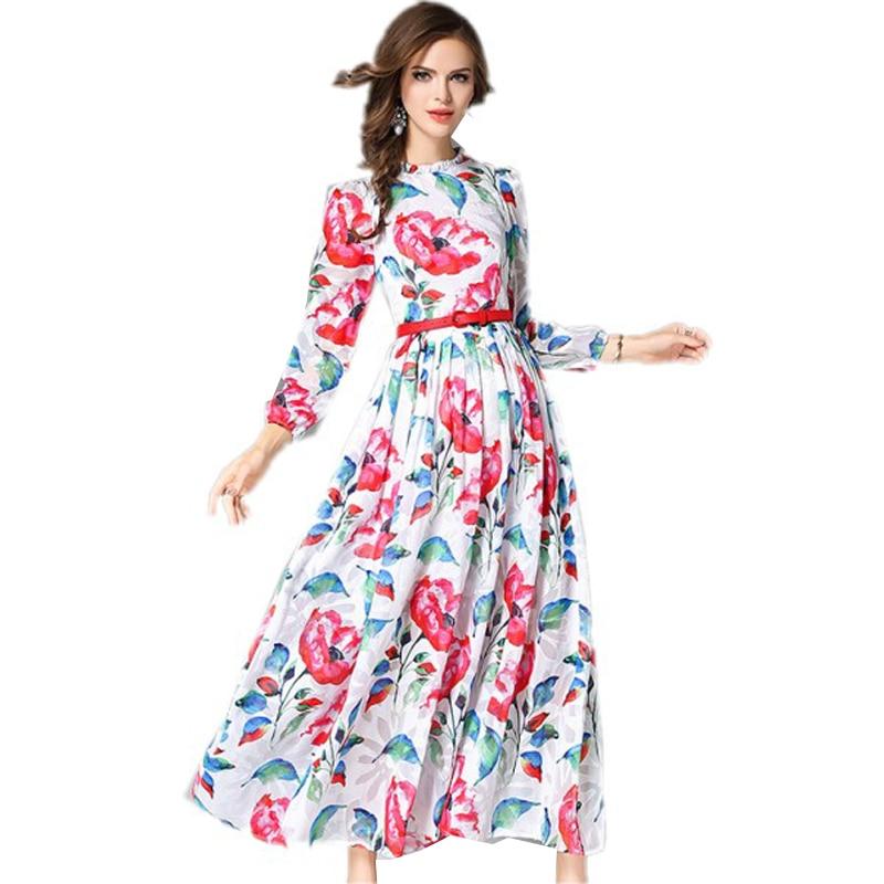 Woman Autumn Chiffon Maxi Party Dress Floral Printed Drapped Slim Belt Ladies Elegant Dress