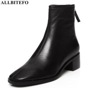 Image 1 - ALLBITEFO naturale del cuoio genuino tacchi alti stivali di cuoio delle donne punta quadrata tallone spesso caviglia stivali per le donne nuovi stivali invernali