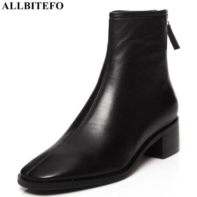 ALLBITEFO naturale del cuoio genuino tacchi alti stivali di cuoio delle donne punta quadrata tallone spesso caviglia stivali per le donne nuovi stivali invernali