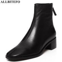 ALLBITEFO الطبيعي جلد طبيعي عالية الكعب النساء الأحذية الجلدية مربع اصبع القدم كعب سميك حذاء من الجلد للنساء جديد الشتاء الأحذية