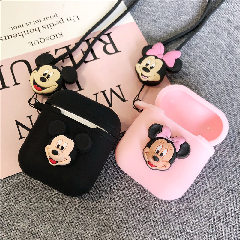Unique 3D Mickey and Minne Cartoon Silicone Case For Apple Airpods Accessories Protective Decor Cover Pouch