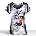 LIKEPINK 2017 Summer Tops Muchacha de Las Mujeres Patrón Harajuku Camiseta A Rayas Clásico de Dibujos Animados Kawaii Dulce T-shirt Femme Rey Reina