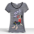 LIKEPINK 2017 Summer Tops Women Girl Pattern Harajuku T Shirt Striped Classic Cartoon Kawaii Sweet Tee Shirts Femme King Queen