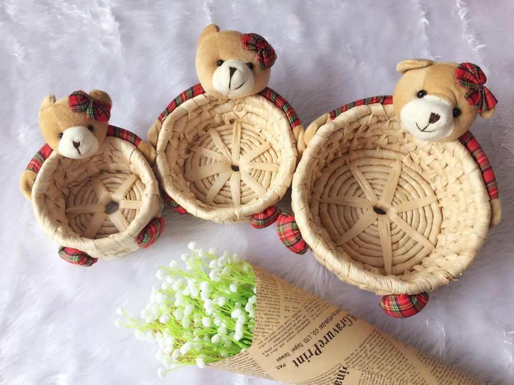 Urso urso caixa de armazenamento do salgueiro cesta de armazenamento do salgueiro cesta do salgueiro