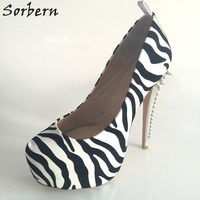 Sorbern黒と白ゼブラプラットフォーム17センチセクシーなハイヒールリベットの靴女性カスタム超高プラットフォームのかかとスリップ-上パンプ