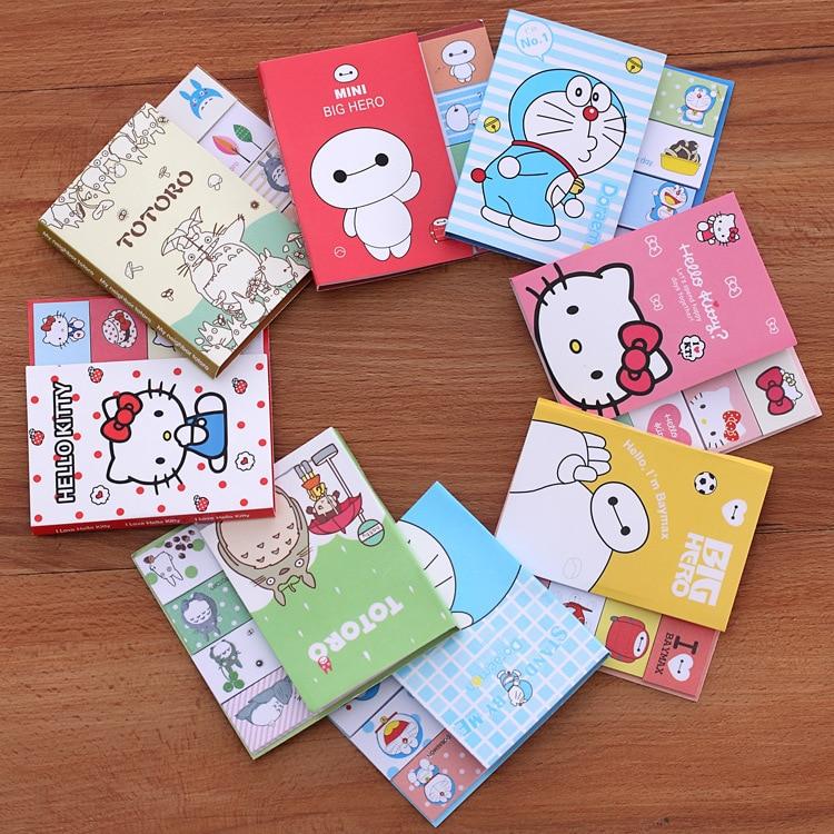 1PCS Lovely Cartoon Totoro Hello Kitty Doraemon Baymax Self-adhesive Memo Pad Sticky Notes Post It Bookmark School Office Supply