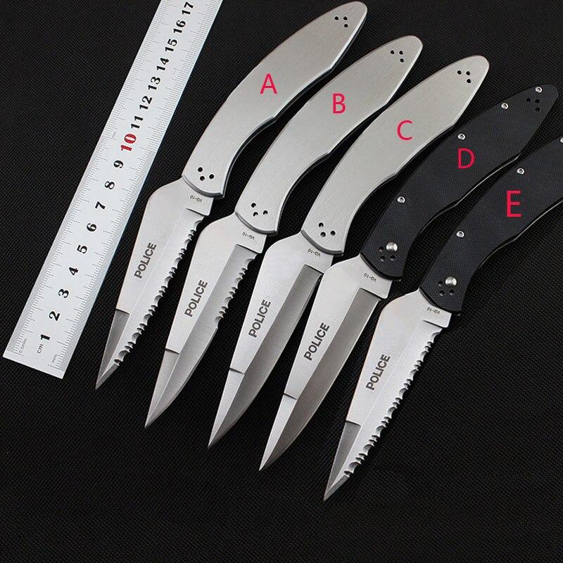 58HRC Police C07 couteau VG-10 lame dentelée couteau pliant Tout acier ou G10 poignée camping Chasse Survie Tactique EDC outil