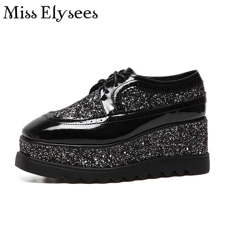 ФОТО Paillette Platform Women Shoes Oxfords Woman Black White Brand Design Fashion Women Wedge Shoes Lace Up Spring Flat Casual Shoe