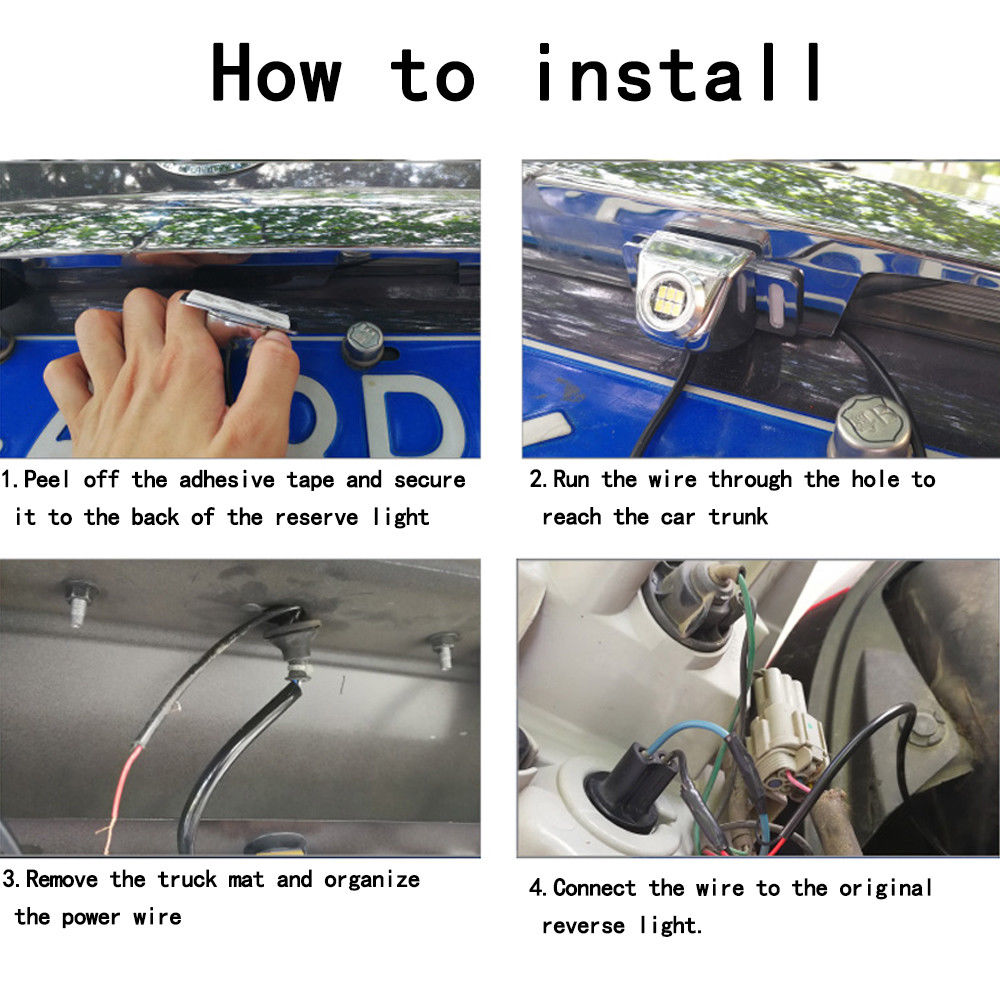 5W Car Reverse Auxiliary light 6500K White parking lamp additional ...
