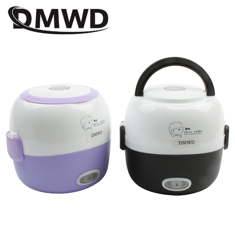 DMWD MINI rice cooker insulation heating electric lunch box 2 layers Portable Steamer multifunction automatic Food Container EU 3 layers portable electric lunch box for 1 2 people office home multi cooker mini rice cooker reheat